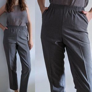 1990's Minimalist Grey Trousers with Elastic Waist